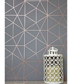 This Metro Prism Geometric Triangle Wallpaper in Charcoal and Copper features stylish metallic elements. Part of the World of Wallpaper Metro Collection. Free UK delivery available. Geometric Wallpaper Pink And Grey, Geometric Wallpaper Living Room, Bedroom Feature Wallpaper, Copper Wallpaper, Metallic Wallpaper, Wallpaper For Kitchen, Copper And Pink, Lounge Decor, My New Room