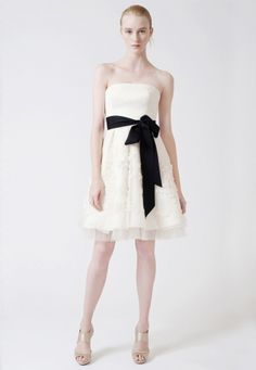 Eddie by Vera Wang. A short bridal gown is perfect for an outdoor summer wedding and for lots of dancing.