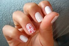 White with glitter and red flowers