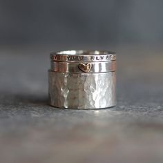 Three Stacking Rings in Sterling Silver Handmade by Helen Burgess. Can be personalised with your own message.