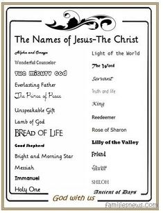 Bright image in free printable names of god