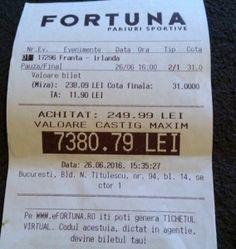 Un bucureștean a speriat agenția Fortuna cu un bilet INCREDIBIL la Euro 2016! Poker, Euro, Personalized Items