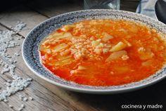 Potato stew with rice Stewed Potatoes, Cheeseburger Chowder, Ibiza, Thai Red Curry, Macaroni And Cheese, Veggies, Soup, Rice, Fruit
