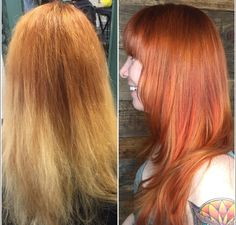 Brassy To Bright Copper Red Hair Transformation Bright Red Hair Red Hair Copper Red Hair