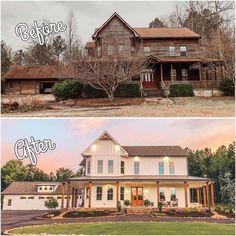 Home Exterior Makeover, Exterior Remodel, Farmhouse Style Decorating, Farmhouse Design, Farmhouse Homes, Country Homes, Farmhouse Decor, Beautiful Farm, Beautiful Homes