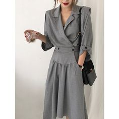 Women's Autumn Long Sleeve High Waist Plus Size Plaid Irregular Length Thin Trench Coat Female Double Breasted Windbreaker Gray Hijab Fashion, Fashion Outfits, Womens Fashion, Different Dresses, Draped Dress, Hijab Outfit, Coats For Women, Ready To Wear, Shirt Dress