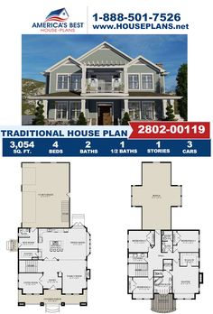 Stop scrolling and take a look at this unique Traditional design. Plan 2802-00119 features 3,054 sq. ft., 4 bedrooms, 2.5 bathrooms, a bonus room, a formal living room, and a mud room. Go to our website for more about this Traditional design. Traditional Bathroom, Traditional House, Traditional Design, Craftsman Style Homes, Craftsman House Plans, Floor Plan Drawing, Basement Layout, Floor Framing, Construction Cost