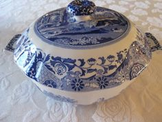 Spode China Double Handle Bowl Blue