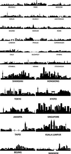 wellknown city silhouette vector
