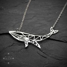 Animal necklace whale necklace silver whale geometric