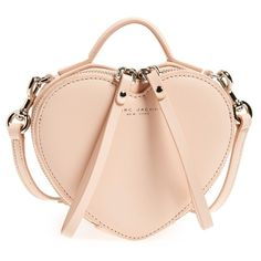 MARC JACOBS Heart Leather Crossbody Bag ($295) ❤ liked on Polyvore featuring bags, handbags, shoulder bags, seashell peach, leather purse, pink crossbody, leather shoulder bag, pink leather handbag and marc by marc jacobs handbags