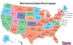 MAP of LANGUAGES -- Most commonly spoken African Languages in the USA, listed by state.