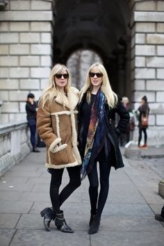 Dani and Annette Felder outside Somerset House at London Fashion Week, February 2012. Photographer: Marcus Dawes