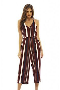6d1b3081a67 Amazon.com  AX Paris Women s Striped Culotte Jumpsuit(Burgundy