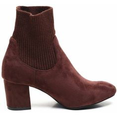 Red Brown 36 Ribbed Knit And Suede Ankle Boots ($24) ❤ liked on Polyvore featuring shoes, boots, ankle booties, red boots, suede boots, short brown boots, suede ankle boots and brown ankle booties