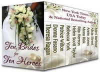 "99-Cent Bargain: 10 books for just 99¢! A boxed set of contemporary romances, TEN BRIDES FOR TEN HEROES contains novels by 10 New York Times, USA Today, and nationally bestselling authors. Get ready to toss the bouquet and say, ""I do!"" as ten brides risk it all to find their happy ever afters. Regularly $2.99, today it's on sale for just 99 cents for Kindle, Nook, iBooks and Kobo! FIND TEN BRIDES FOR TEN HEROES at http://friday.laurenroyal.com/books/ten-brides-for-ten-h"