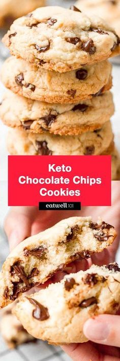 Keto chocolate chip cookies - These low carb cookies are a perfect recipe to mak. CLICK Image for full details Keto chocolate chip cookies - These low carb cookies are a perfect recipe to make for any occasion, they tak. Low Carb Sweets, Low Carb Desserts, Low Carb Recipes, Ketogenic Desserts, Flour Recipes, Paleo Recipes, Ketogenic Diet, Keto Chocolate Chip Cookie Recipe, Keto Chocolate Chips