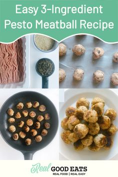 Easy 3-Ingredient Pesto Meatball Recipe will be your new dinner favourite. Pair them with pasta or toss them in a salad for a quick protein addition. #healthyrecipe #meatballrecipe #chickenrecipe #mealideas Pesto Meatball Recipe, Meatball Recipes, Turkey Recipes, Easy Healthy Dinners, Healthy Dinner Recipes, Appetizer Recipes, Real Food Recipes, Nutrition Tips, 3 Ingredients