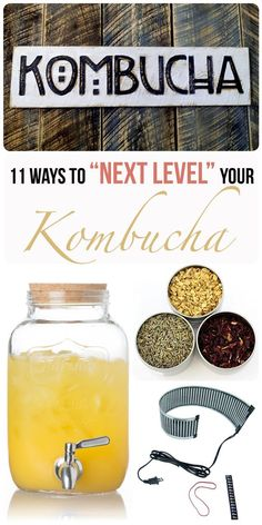You can make the basic kombucha recipe, or you can take it to the next level. From flavoring to dehydrating, these kombucha products will help you get there! Kombucha Flavors, Kombucha Scoby, How To Brew Kombucha, Probiotic Drinks, Best Probiotic, Making Kombucha, Kombucha Brewing, Kombucha Benefits, Kimchi