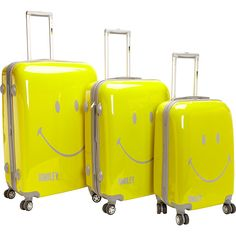 pb travel Smiley Face 3PC Spinner Luggage Set ($302) ❤ liked on Polyvore featuring men's fashion, men's bags, luggage, luggage sets and yellow