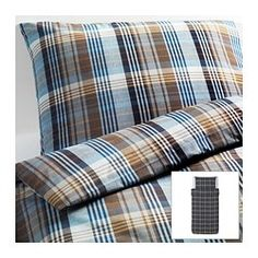BENZY Duvet cover and pillowcase(s) - checkered/blue, Twin - IKEA