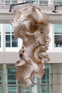 Tot in de vezel - peter gentenaar by de_buurman. Abstract Sculpture, Sculpture Art, Paper Sculptures, Vanitas, Arte Linear, 3d Studio, Paper Artwork, A Level Art, Fabric Manipulation