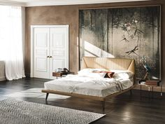 Leather double bed with upholstered headboard AMADEUS by Cattelan Italia design Studio Memo