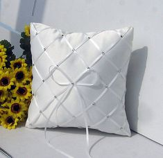 An excellent idea for any ring bearer and flower girl. with a large white ribbon bow with a diamante studs and a diamond ribbon pattern. You are viewing this gorgeous white satin covered ring pillow. Bow Pillows, Ring Pillows, Wedding Ring Cushion, Wedding Pillows, Pillow Crafts, Ring Bearer Pillows, Decorative Pillows, Patterns, Wedding Veils