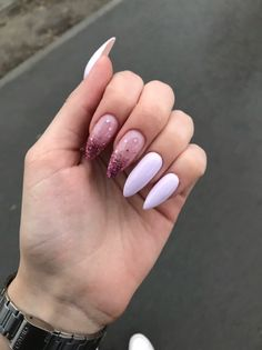 Pink French Nails Almond 33 New Ideas Hair And Nails, My Nails, Shiny Nails, Fire Nails, Dream Nails, Cute Acrylic Nails, Glitter Nails, Square Nails, Almond Nails