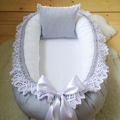 Baby cushion in gray cotton fabric with wide lace, gray border, cushion and rosett⭐️ #babynest # sleeper #sovrade #baby #bebis # baby2016 #babyygirl #babyboy #unisex #spets #pudde #rosett # gray #babyshower #barnrumsinspo #barnrumsinredning #babyroom #babyroominspo #pregnant #momtobe #gravid # pregnant16 # pregnant2016 # gravidabf2016 # bf16 # bf2016 #schwanger # schwanger2016