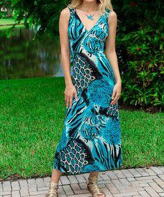 Look at this #zulilyfind! Turquoise Jungle Cutout Maxi Dress by Modern Touch #zulilyfinds