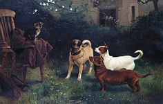 Charles Burton Barber (Inglaterra, 1845-1894). Cat and Dogs Belonging to Queen Victoria, 1885. Royal Collection
