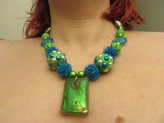 Bright Neon Green Pendant Necklace Unique One of a Kind Necklace, Teen Necklace, Neon Blue and Green Geometric Necklace