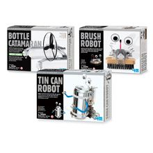 These cool Recycled Robot Kits: Set of 3 teach kids to be creative and use what they have on hand to build environmentally friendly toys. Tin Can Robot recycles a soda can into a silly robot that moves. Uses two AA batteries (not included). Brush Robot will sweep you away; robot shuffles along the floor on its brush base. Uses two AAA batteries (not included). Bottle Catamaran reuses two plastic bottles as floats for a working model catamaran. Uses two AAA batteries (not included). Each kit…