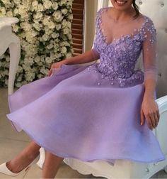 Lavender V-Neck Homecoming Dress,Applique Homecoming Dresses