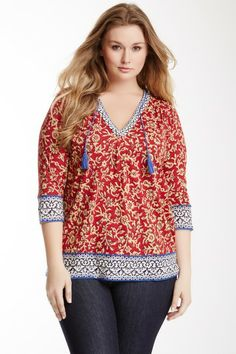 Anderson Border Print Tunic (Plus Size) by Lucky Brand on @HauteLook