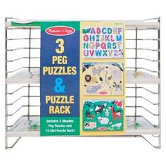 Melissa & Doug® Puzzle Rack with 3 Peg Puzzles : Target