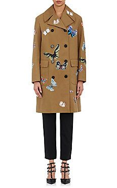 Embroidered Double-Breasted Trench Coat