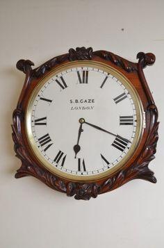Victorian Wall Clock By S B Gaze London. ca.1850