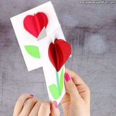 Heart Flower Card (with flower template) - Valentines and Mother& day craft idea - Easy Peasy and Fun flowercraftskids Flower Crafts Kids, Valentine's Day Crafts For Kids, Mothers Day Crafts, Valentine Day Crafts, Holiday Crafts, Valentines, Art N Craft, Craft Stick Crafts, Easy Crafts