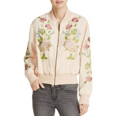 Glamorous Embroidered Bomber Jacket (€170) ❤ liked on Polyvore featuring outerwear, jackets, nude, embroidered jacket, flight jacket, embellished jacket, bomber style jacket and multi color jacket
