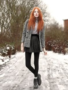 Sheer Crystal Collar Shirt, Pleated Faux Leather Skirt, Speckled Woolly Coat, Dr. Martens Boots | Frosty. (by Olivia Harrison) | LOOKBOOK.nu