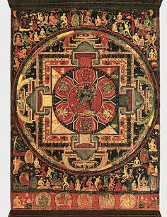 This mandala, or ritual diagram, is conceived as the palace of the wrathful Chakrasamvara and his consort Vajravarahi, seen together at the center of the composition. These deities are important to the Newar tradition of Nepal as well as in Tibet, embodying the esoteric knowledge of Buddhist texts, the Yoga Tantras