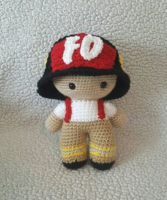 Crochet Fireman Big Head Doll Crochet Fireman doll by DesignsbyBBB