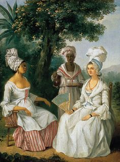 18c. Creole women of the French Antilles that included, St Martin, Martinique, Guadeloupe, Ste. Lucia .  Wearing Tignon head dress. Those unfortunately were reserved for slaves.