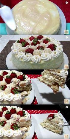BOLO DE BEIJINHO COM MORANGO #bolo #bolodebeijinho #beijinhocommorango #boloparalanchar #comofazerbolo Brownie Cupcakes, Cake Cookies, Beautiful Cakes, Amazing Cakes, Cheesecakes, Cake Boss, Candy Shop, Love Cake, Yummy Cakes