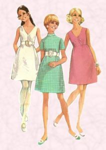 1969 Fashions on fashion-era. Dress patterns of the era followed an A line style or were frequently empire line baby doll garments like these.