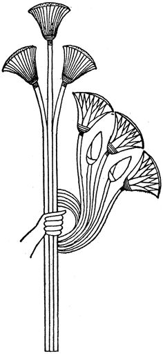 Ancient Egyptians created design motifs based on their native vegetation. Egyptian Drawings, Egyptian Art, Egyptian Jewelry, Ancient Egypt Art, Ancient Artifacts, Ancient Aliens, Ancient Greece, 1000 Tattoos, Papyrus