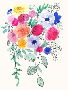 Little Bunch of Flowers by Victoria Johnson Canvas Art