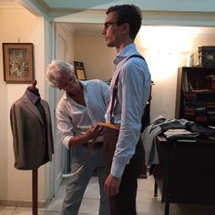 Getting measured for a navy flannel suit in Napoli.